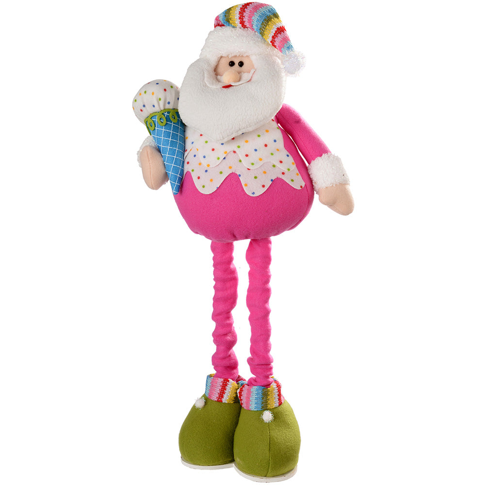 Standing Colourful Cupcake Father Christmas with Extendable Legs, 45-66 cm