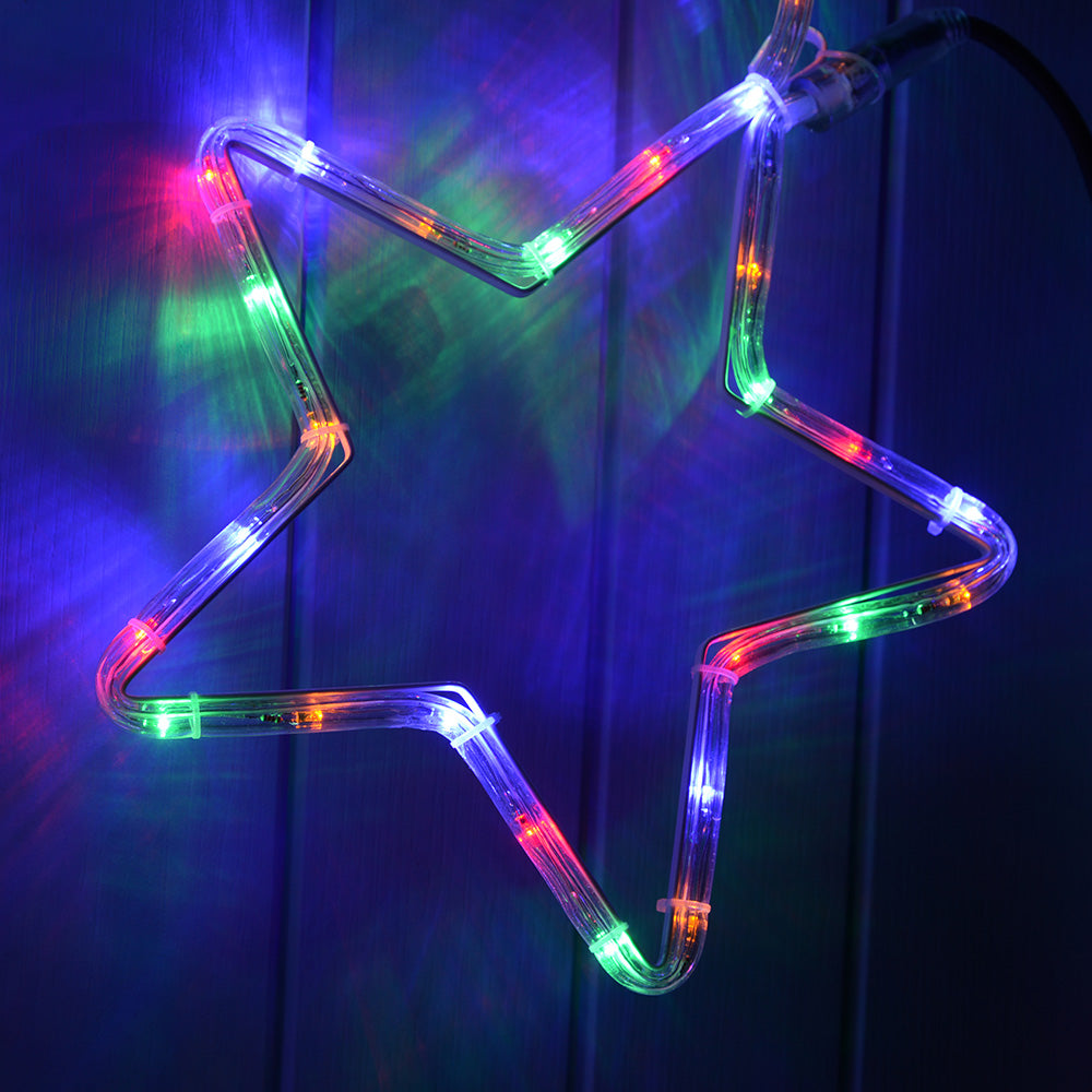 7 Star Motif LED Rope Lights Silhouette, 300 cm - Large, Multi-Colour