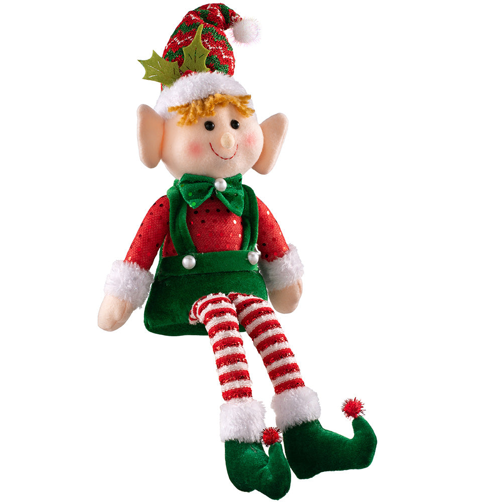 Sitting Christmas Elf Decorations, Red and Green, Set of 2, 46cm