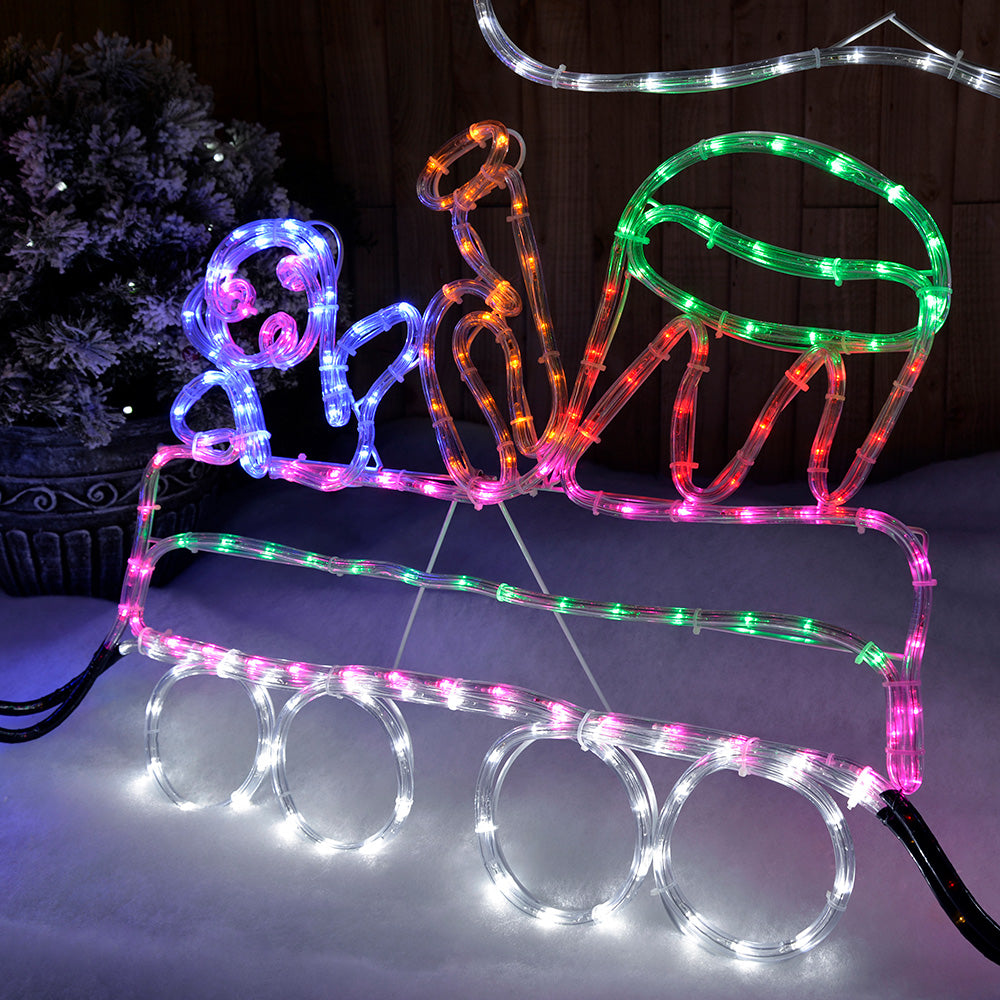 230 cm Large Pre-Lit LED Train with Flashing Smoke and Wheels Rope Light Silhouette