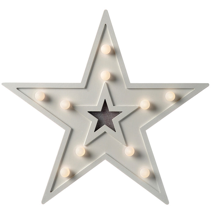 Pre-Lit Star Light Table Christmas Decoration with 10 Warm White LEDs, Wood, 29 cm - White