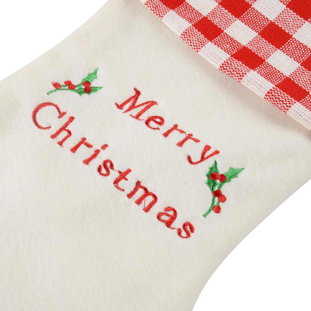 Embroidered Christmas Stocking Decoration, Red/ White, 48 cm
