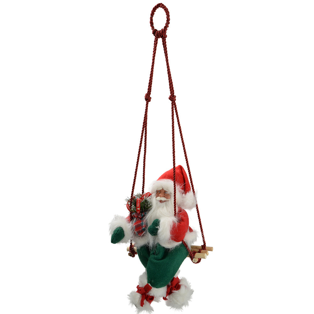 35 cm Large Swinging Santa in a Outfit Christmas Decoration, Red/ Green