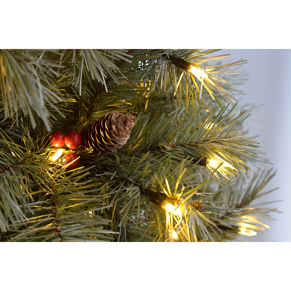 Pre-Lit Scandinavian Spruce Pinecone and Berry Christmas Tree with Warm White Candle LED Lights