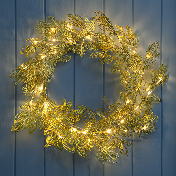 60 cm Pre-Lit Wreath with 48 Warm White LED Lights Christmas Decoration, Gold Leaf