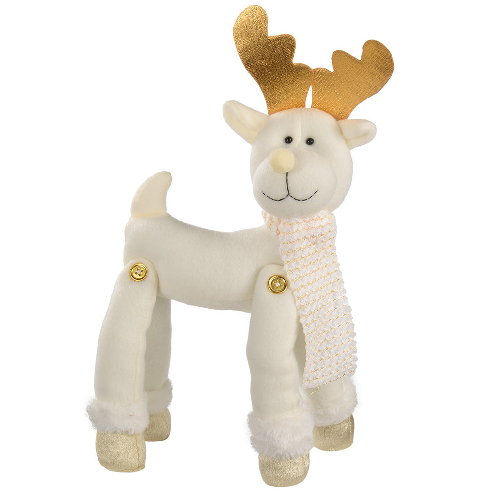 30 cm Reindeer Christmas Decoration, Cream/ Gold