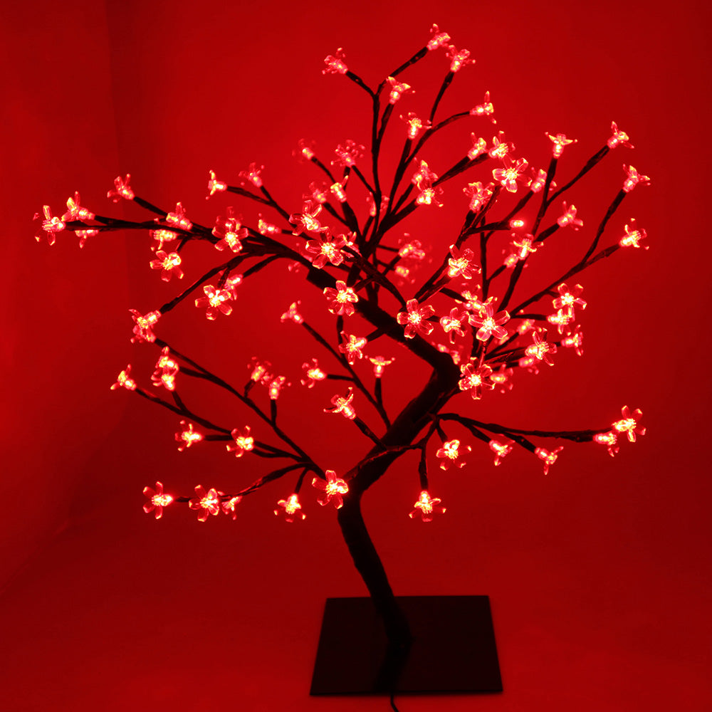 Pre-Lit Illuminated Cherry Blossom Tree with 96-LED, 2 ft/60 cm - Red