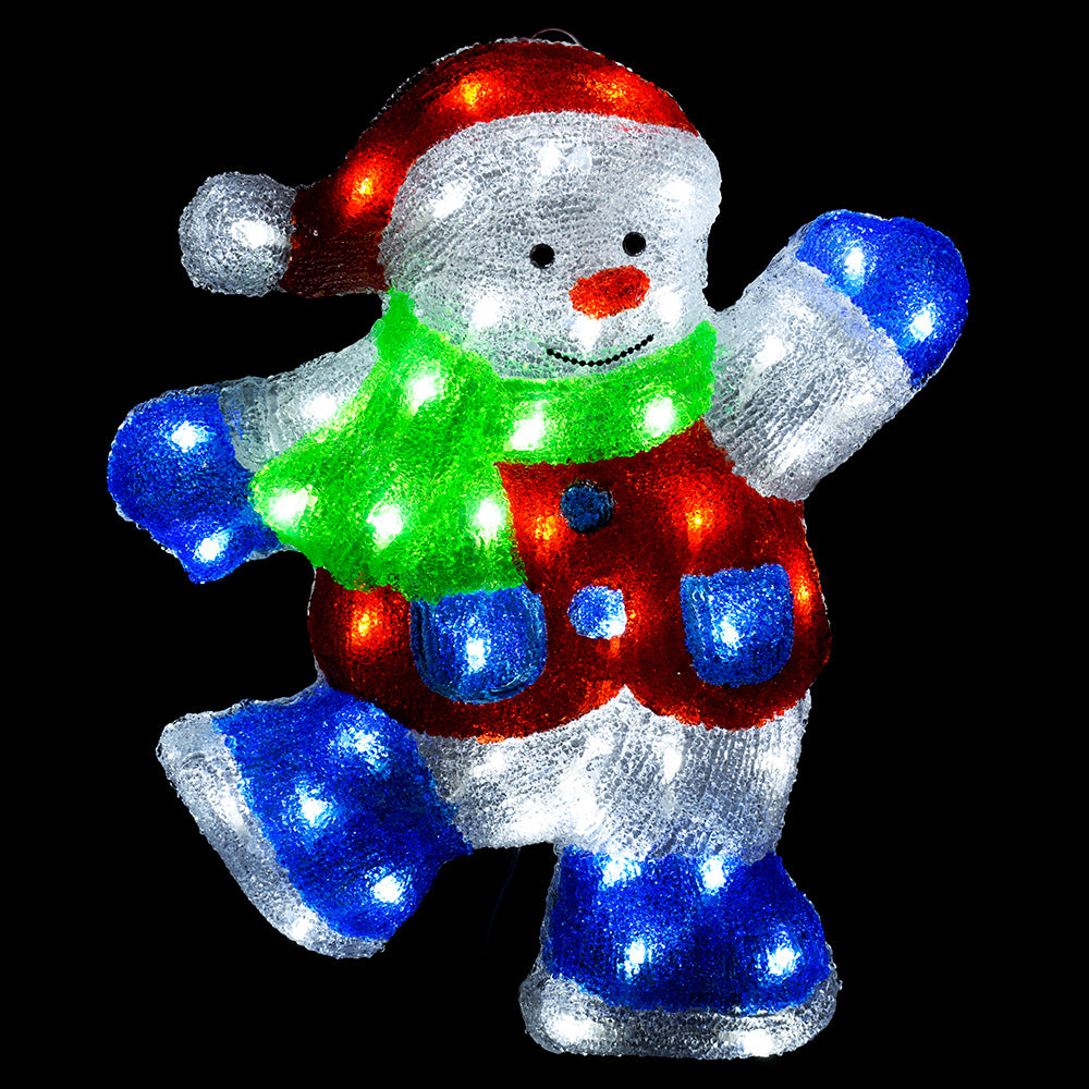 Pre-Lit LED 3D Snowman Christmas Decoration, 47 cm - Multi-Colour