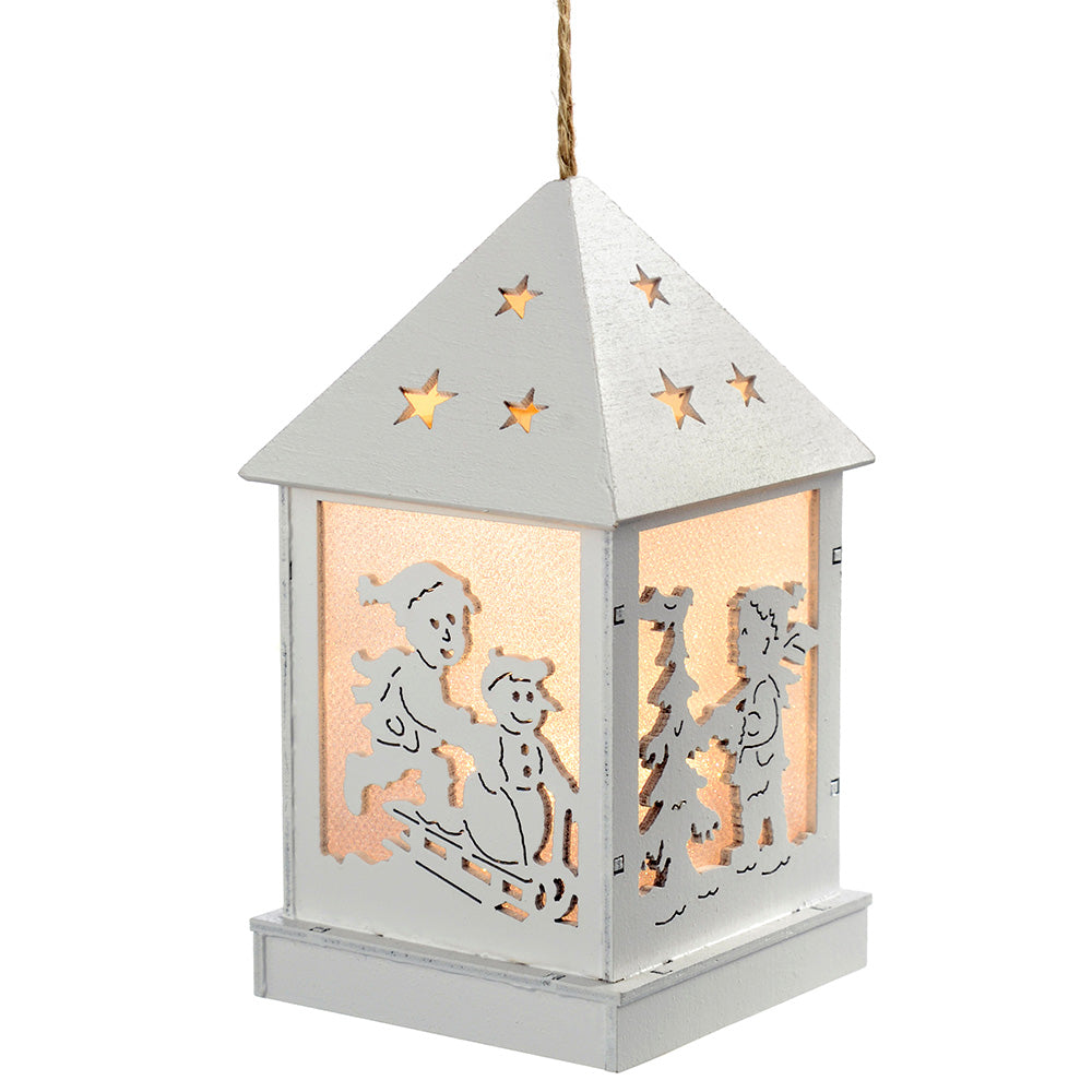 Pre-Lit Christmas Hanging Lantern, Wood, 12 cm - White, Set of 3