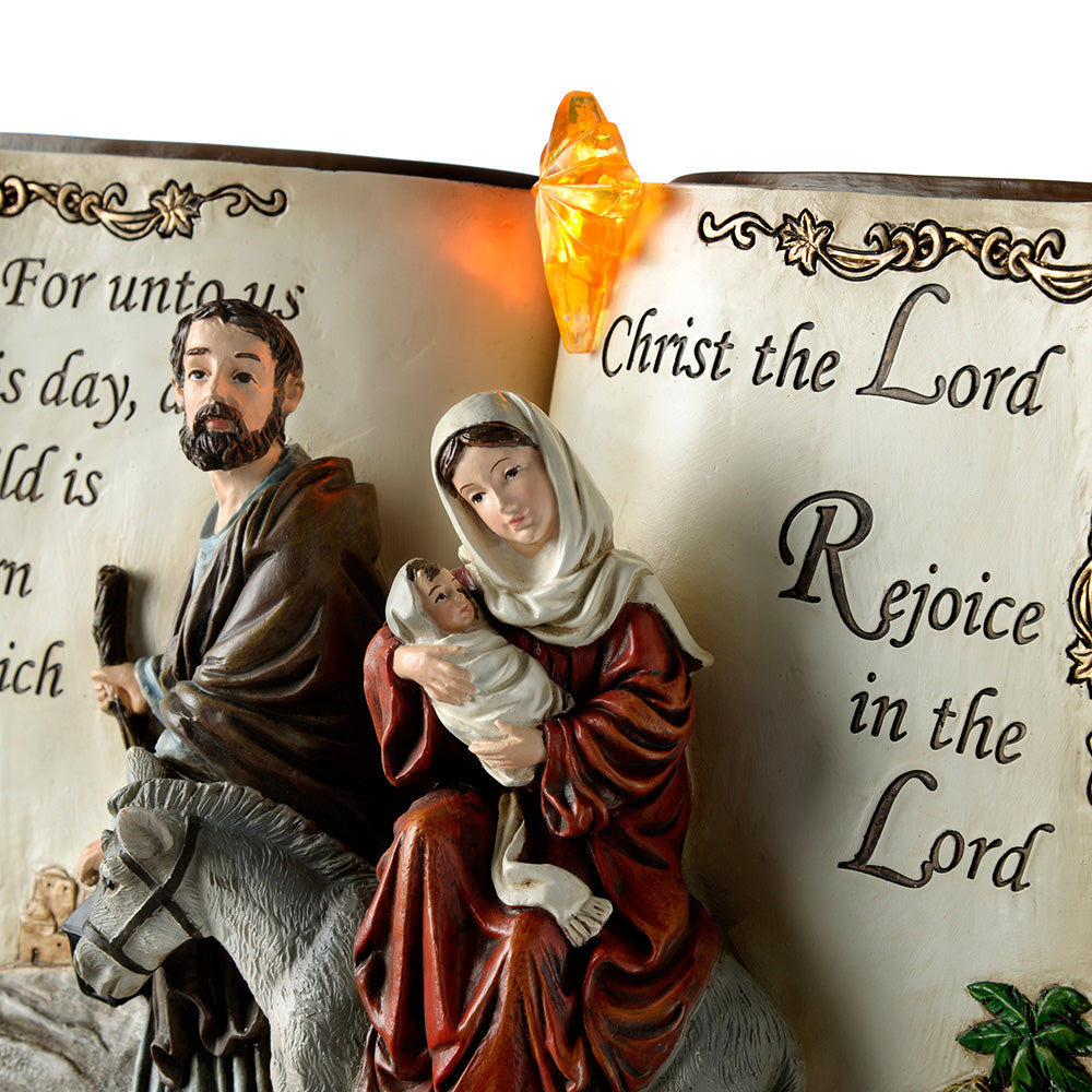 Pre-Lit Hand Painted Holy Family Nativity Book, 26 cm - Multi-Colour