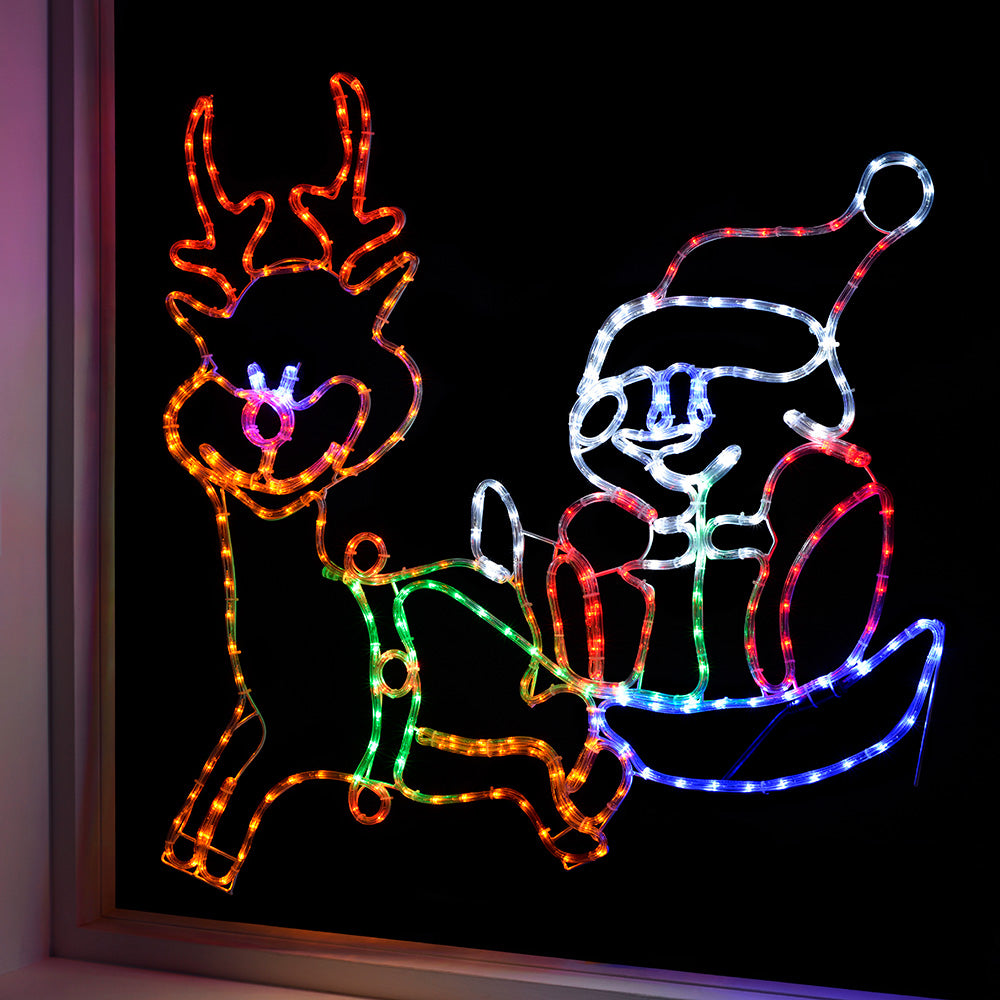 Pre-Lit LED Santa and Sleigh Rope Light Silhouette, 115 cm - Multi-Colour