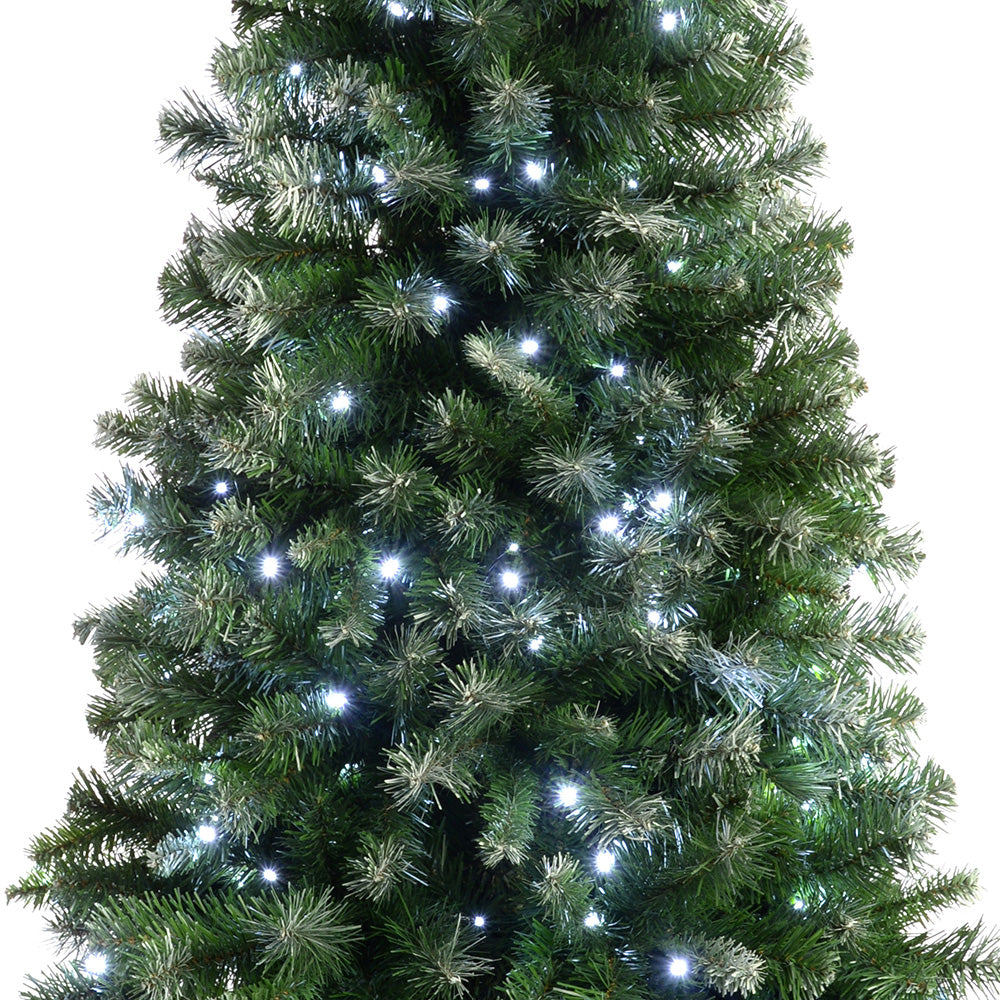 Pre-Lit Slim Frosted Christmas Tree with 200 White LED Lights