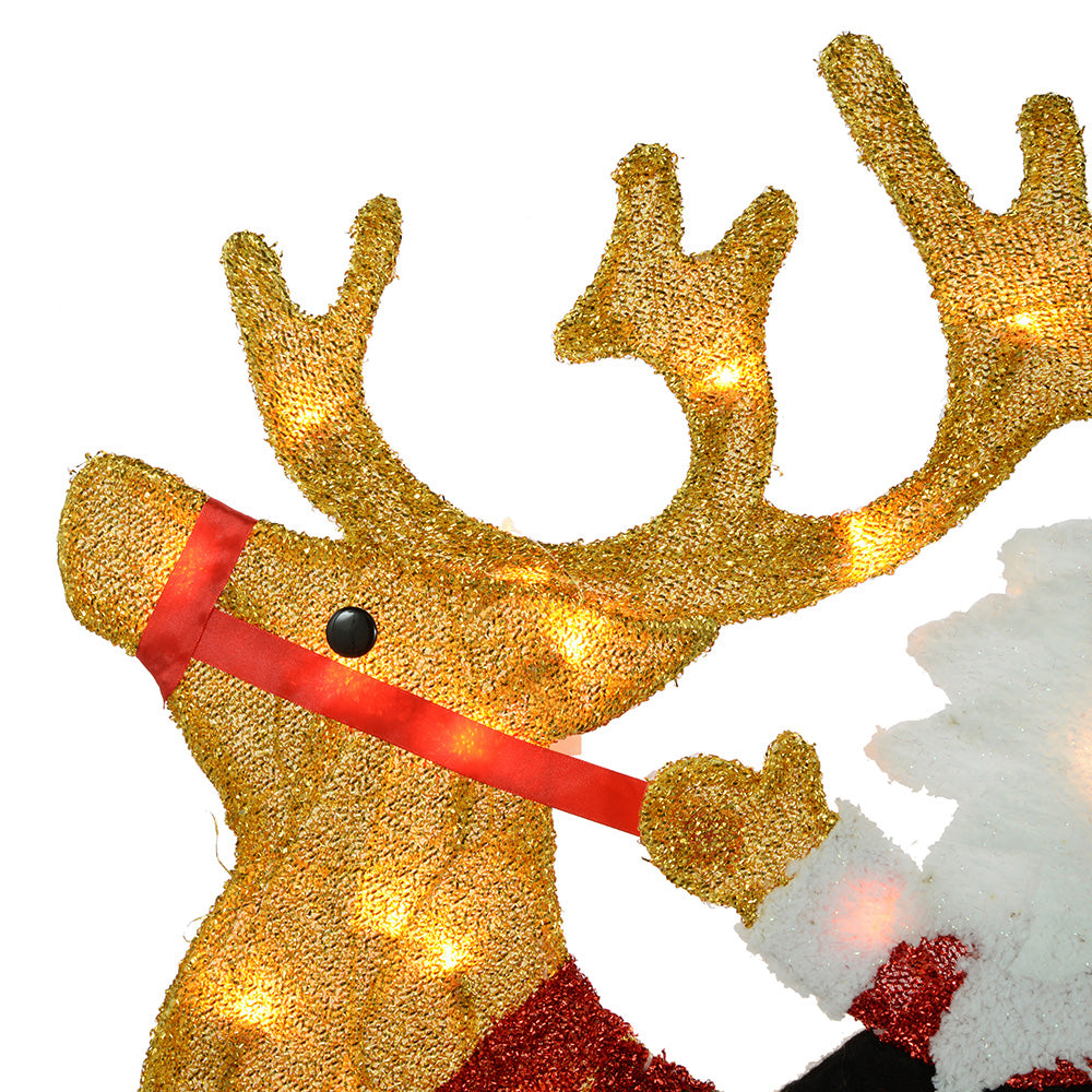 Large Pre-Lit Santa and Reindeer Silhouette with 50 Warm White Lights and Tinsel, 91 cm