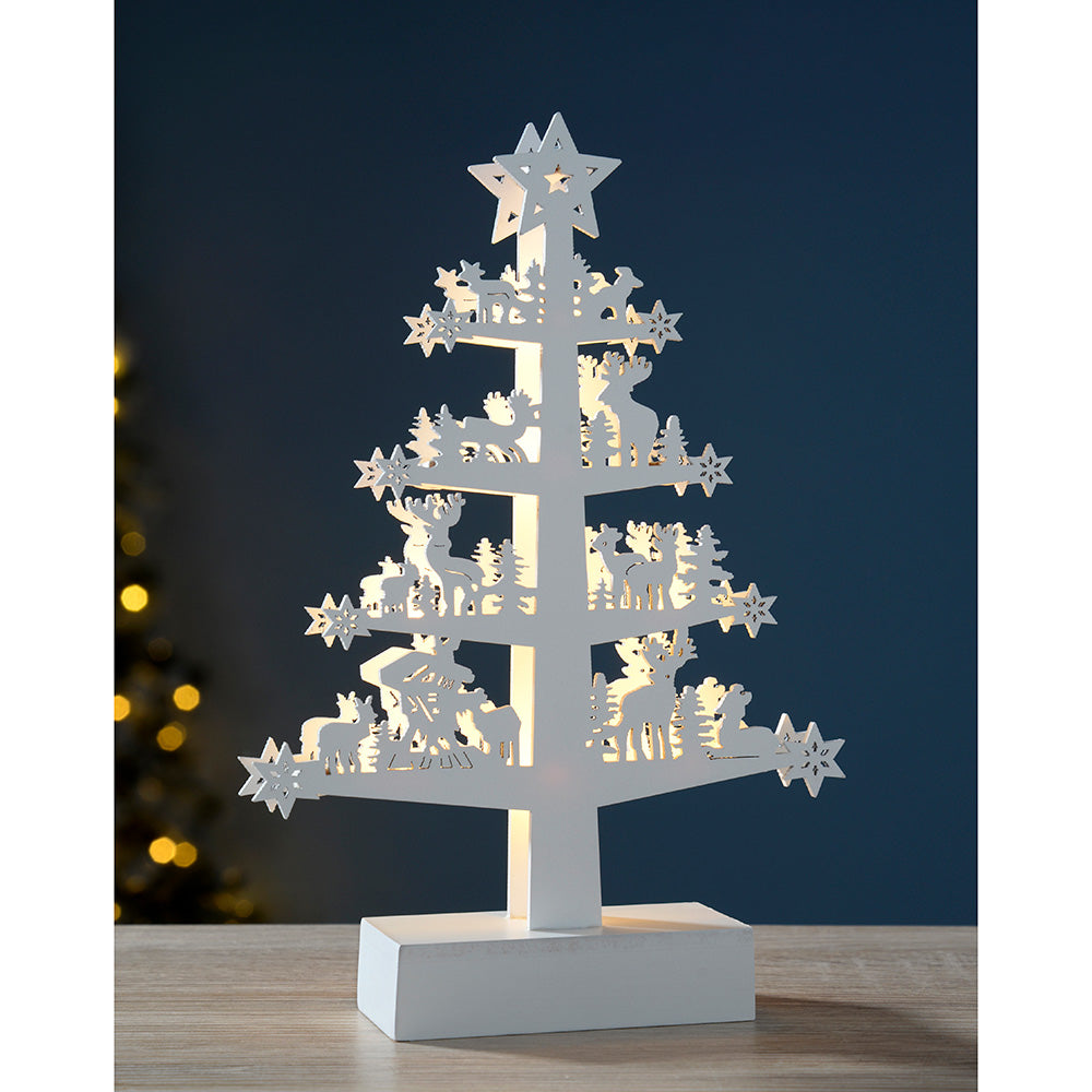 Pre-Lit Reindeer Tree Table Christmas Decoration, Wood, 25 cm - White