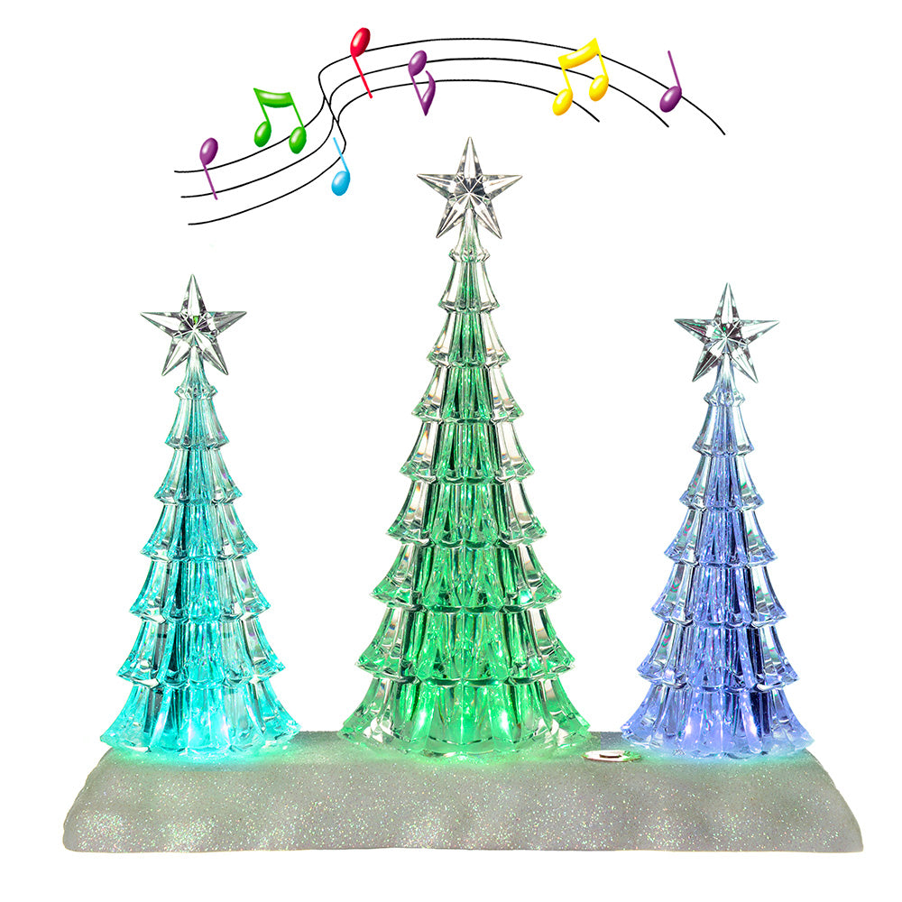 Pre-Lit Colour Changing LED Musical Christmas Tree Scene Decoration, Acrylic, 24 cm
