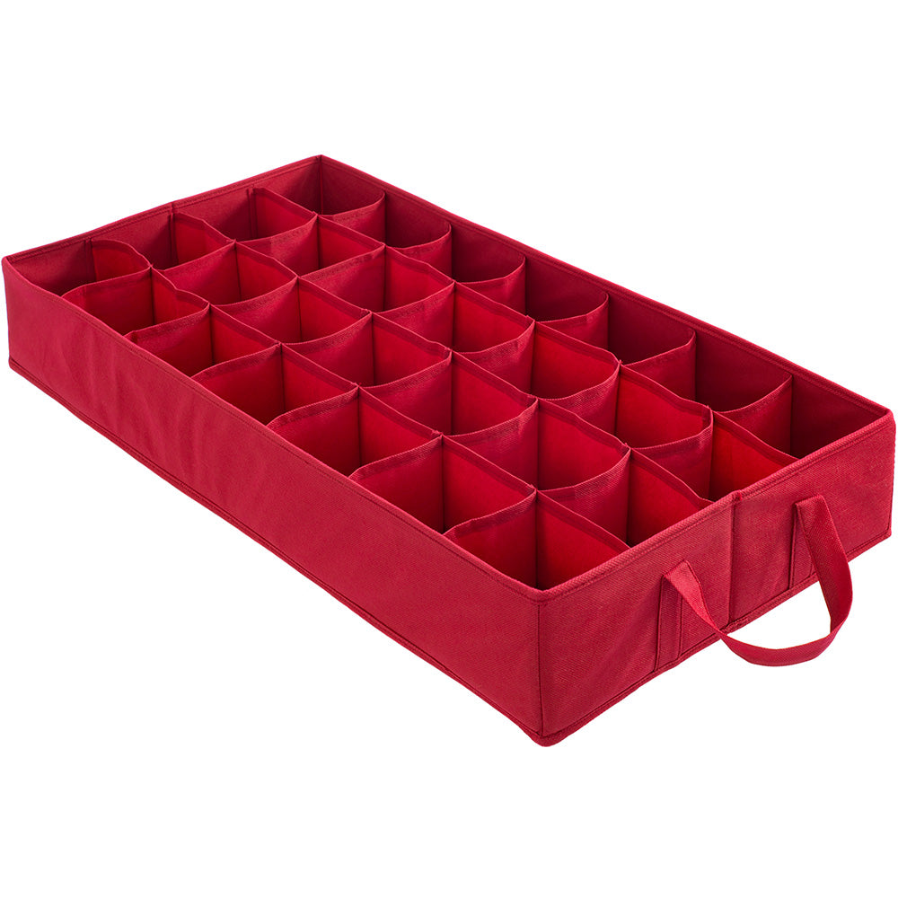 72 Piece Christmas Decoration and Ornament Storage Box, Red, 40 cm
