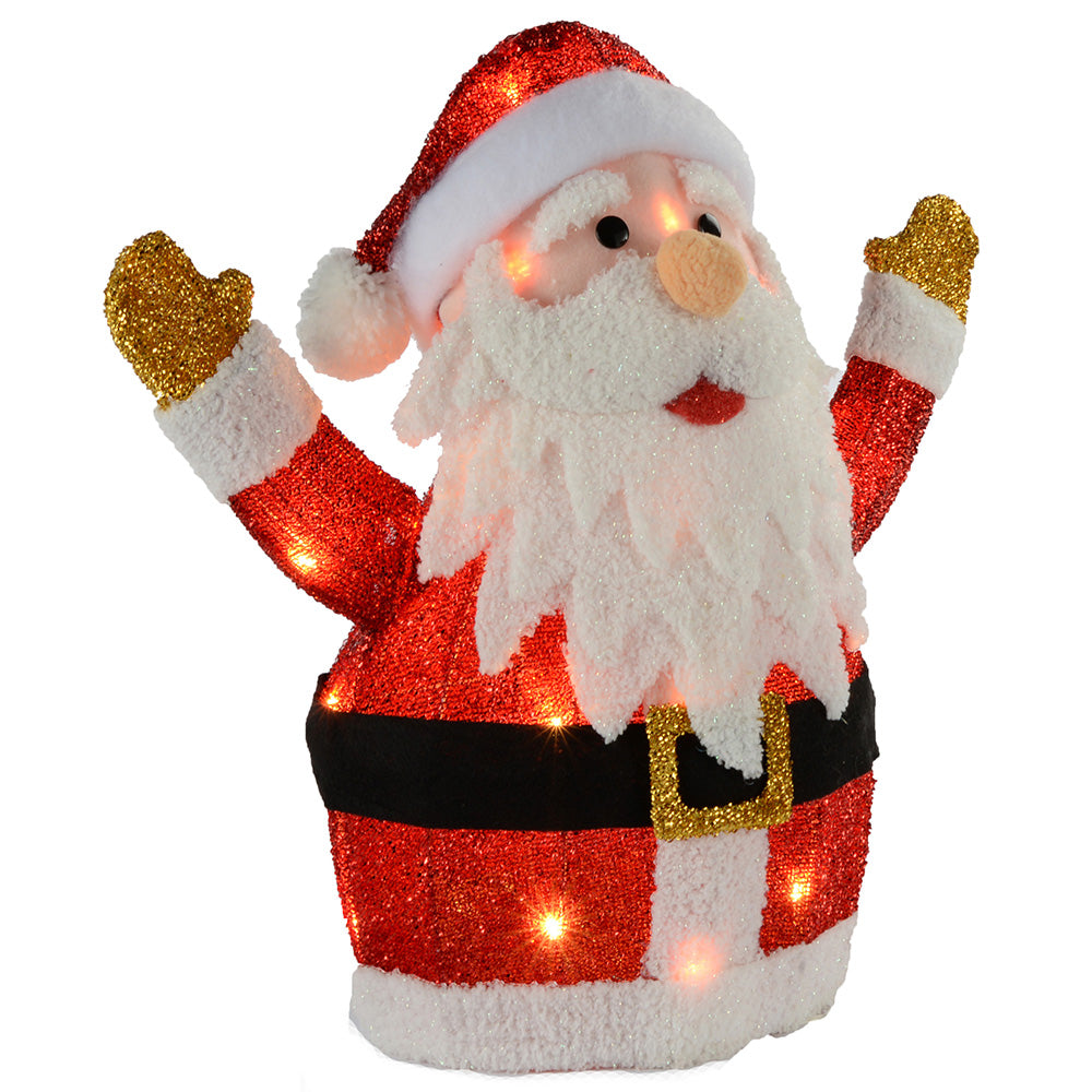 Santa Silhouette with Warm White LED Lights and Tinsel Christmas Decoration, 53 cm - Large