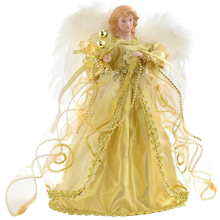 Angel Decoration Christmas Tree Top Topper with Feather Wings, 30 cm - Gold