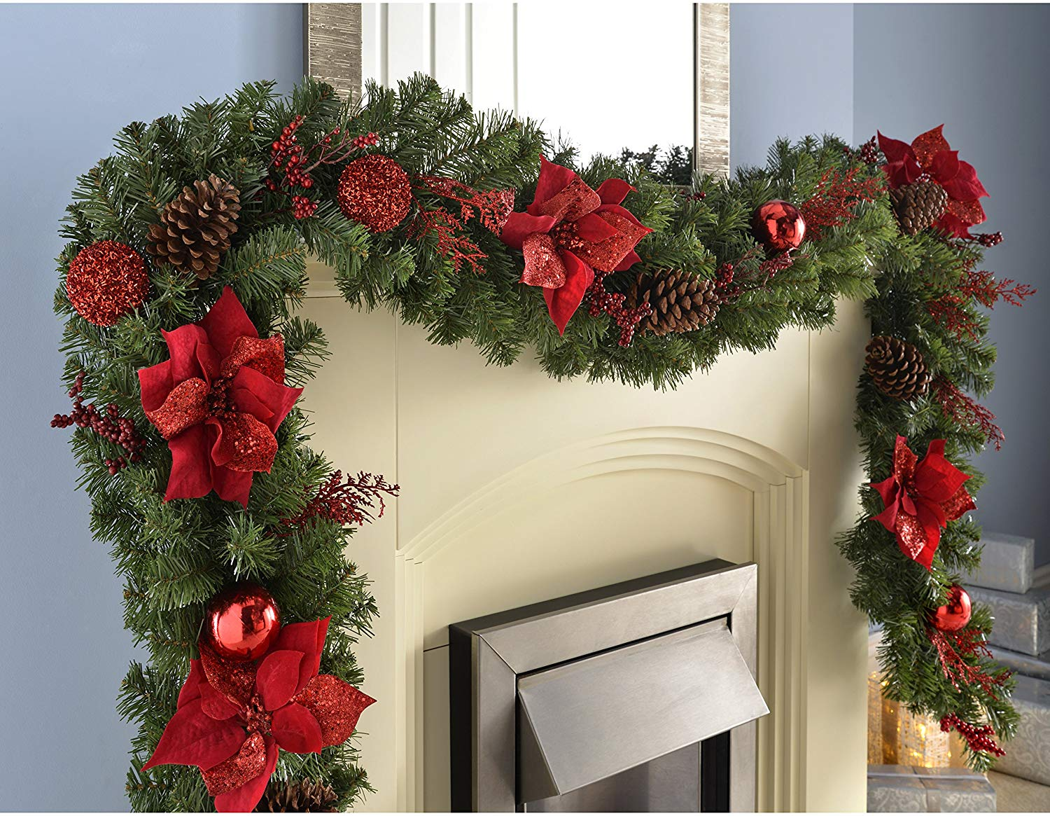 Extra Thick Decorated Garland Christmas Decoration, Red/Gold, 9 feet
