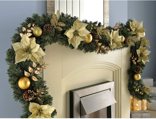 Extra Thick Decorated Garland Christmas Decoration, Cream/Gold, 9 feet