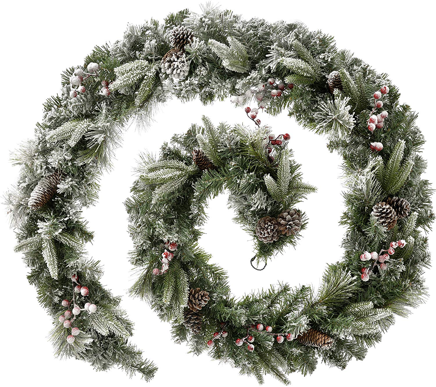 Extra Thick Mixed Pine Snow Flocked Garland Decorated with Cones and Berries, Green/White, 9 feet