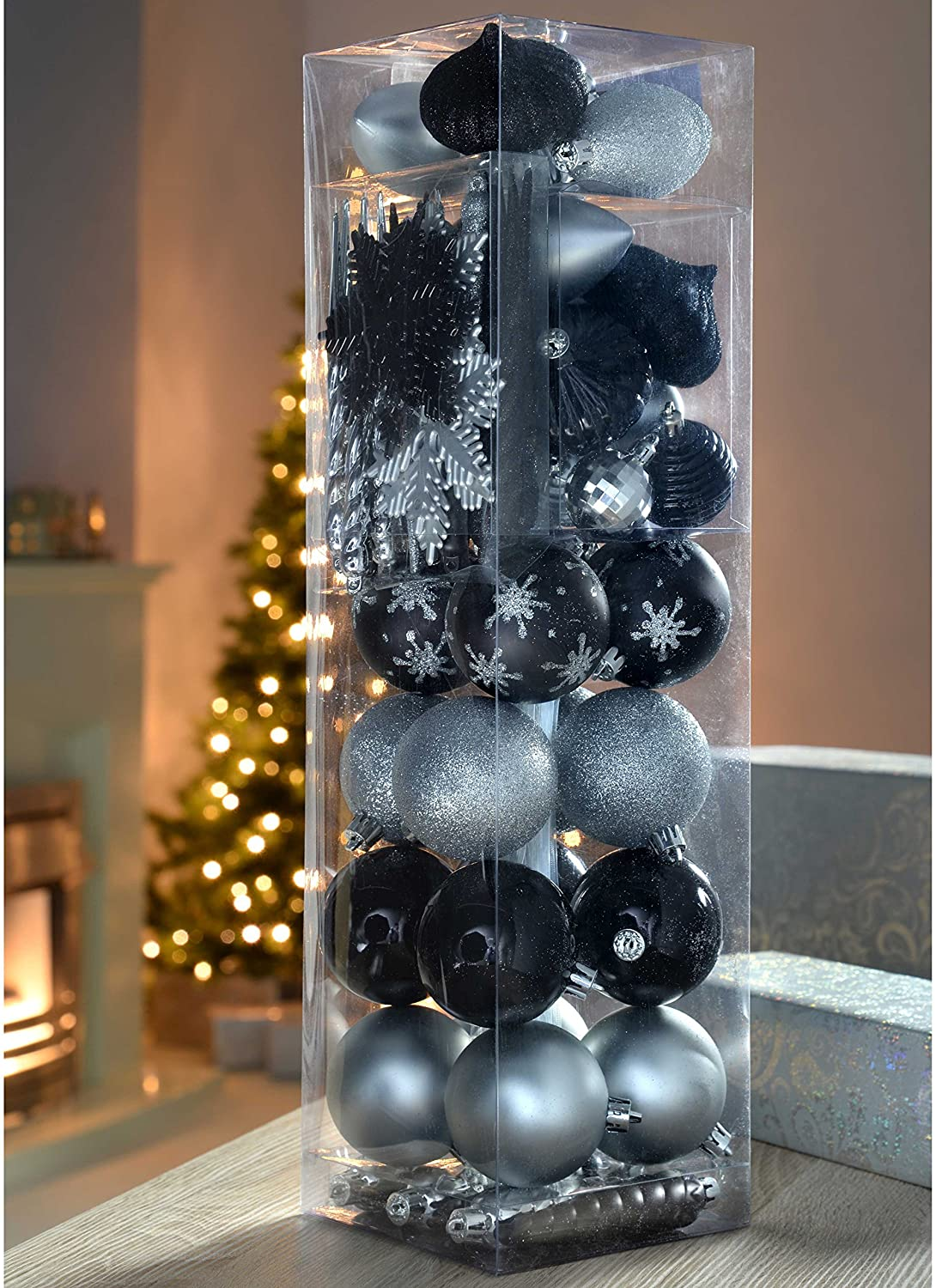 72-Piece Shatterproof Deluxe Variety Christmas Tree Baubles , Silver/ Black