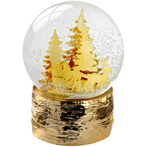 Santa Sleigh and Christmas Trees Snow Globe Christmas Decoration, 15 cm - Gold