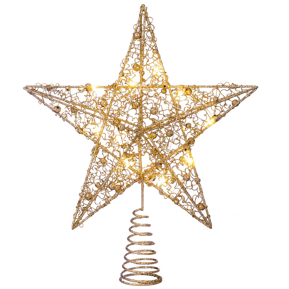Pre-Lit Star Christmas Tree Topper, 31 cm