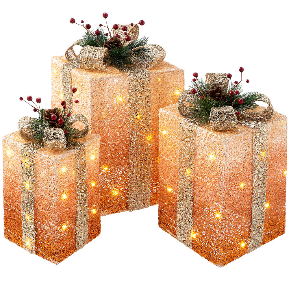Set of 3 Pre-Lit Gift Boxes Christmas Tree Decoration, 43 cm