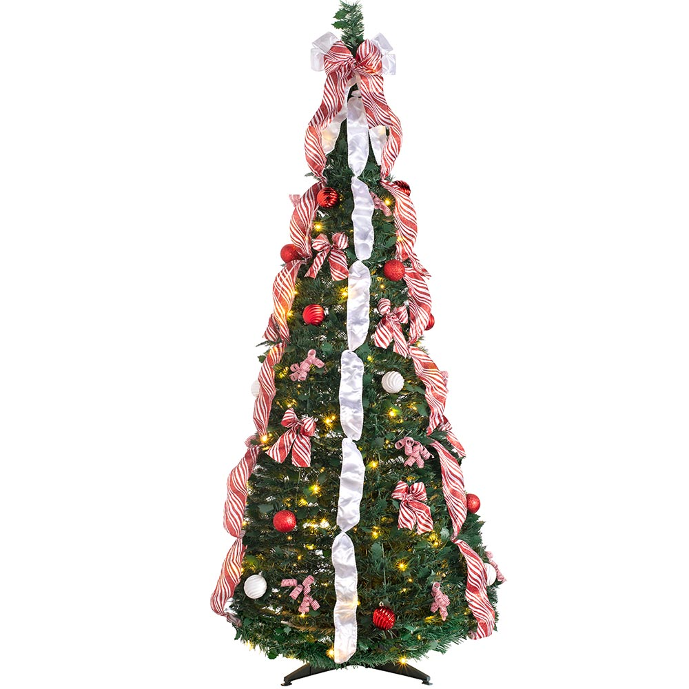 Pre-Lit Pop Up Decorated Christmas Tree with 150 Warm White LED Lights 6 ft / 1.8 m