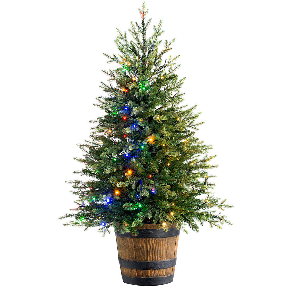 Pre-Lit Potted Pine Christmas Tree with 100 Dual LED Lights, Warm White and Multicoloured