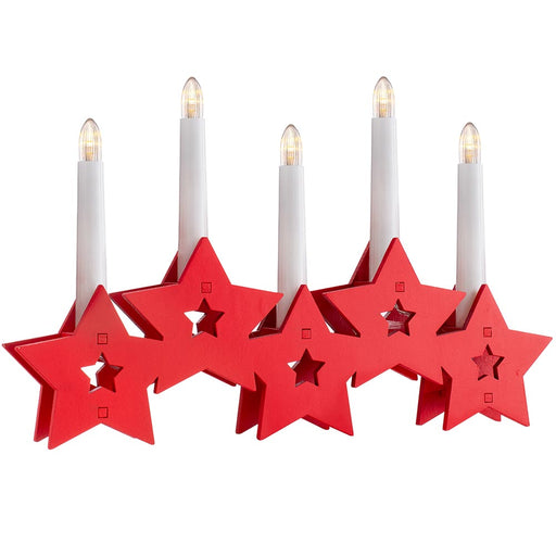 Star Shaped Candle Bridge with 5 Pre-Lit Candles 32 cm