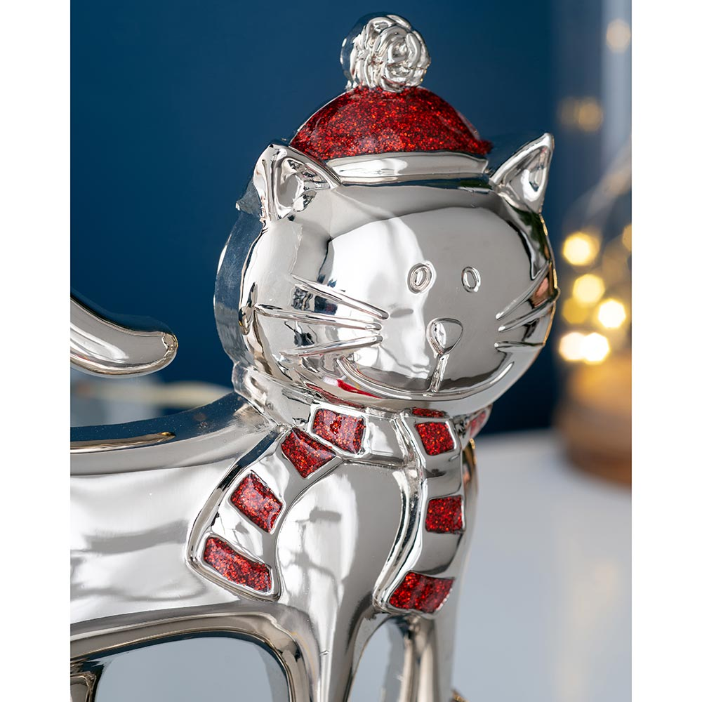 Christmas Stocking Holder with Hanging Hook, Silver, 17 cm