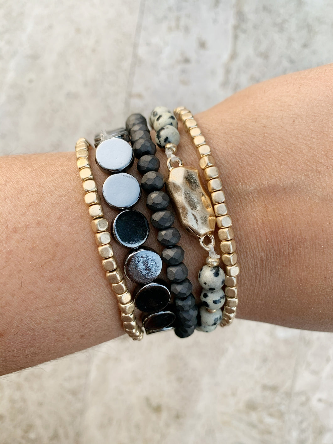 Stacked Bracelets- Black Combo