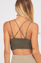 Load image into Gallery viewer, Olive Green Lace Bralette Bra