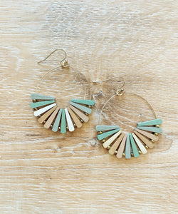 Wooden Pinwheel Earrings