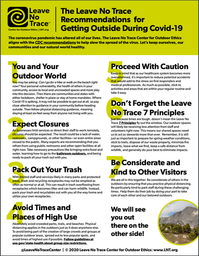 Leave No Trace COVID-19 Guidance Poster