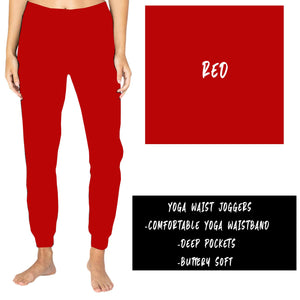 SOLID HOLIDAY RED YOGA WAIST JOGGERS (ADULTS/KIDS)