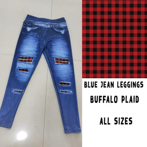 BLUE JEAN LEGGINGS- BUFFALO PLAID