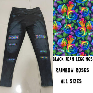 BLACK JEAN LEGGINGS- RAINBOW ROSES