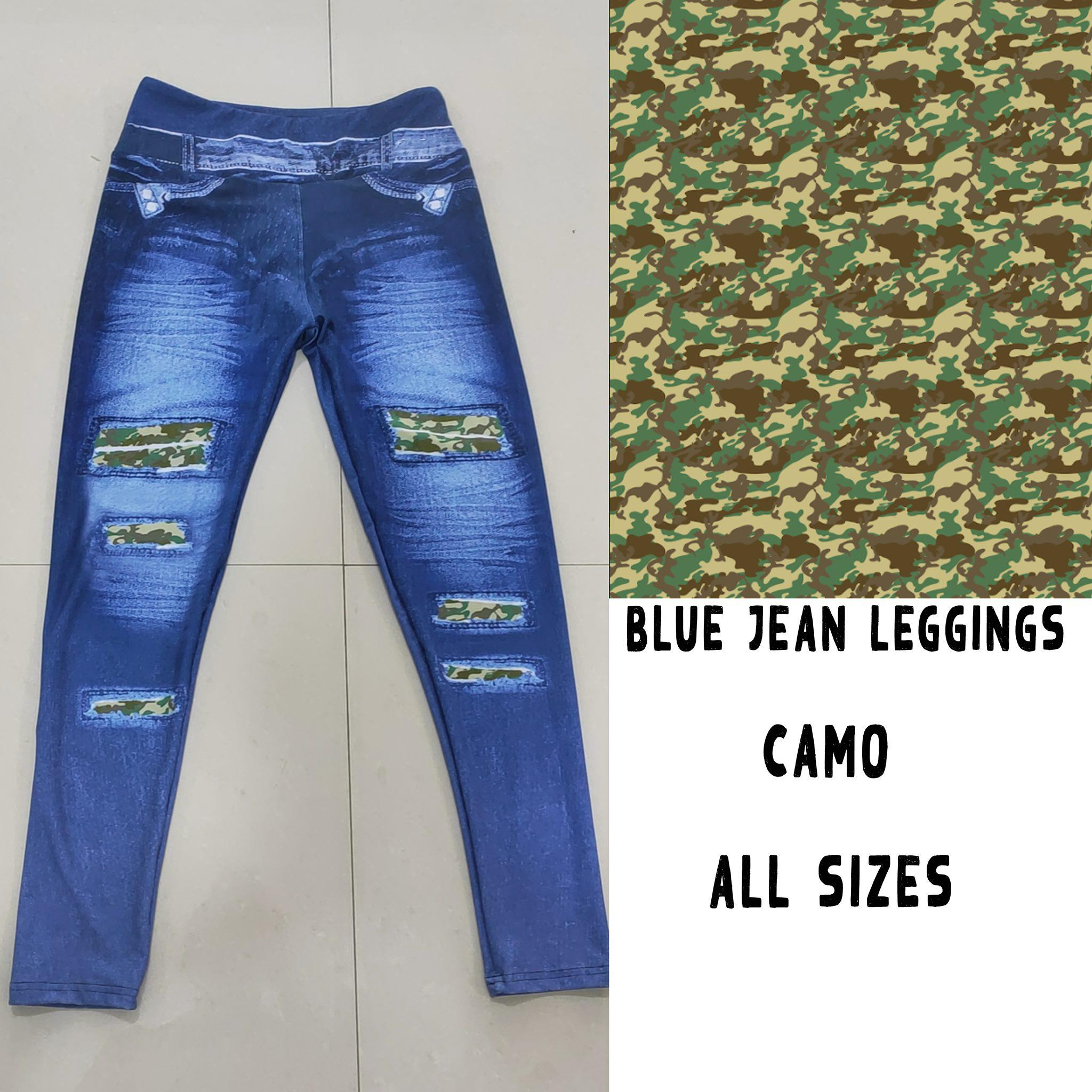 BLUE JEAN LEGGINGS- GREEN CAMO