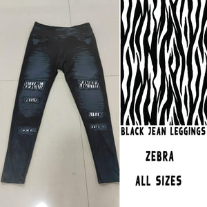 BLACK JEAN LEGGINGS- ZEBRA