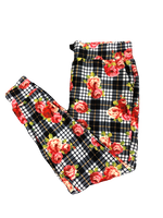 Roses on Plaid Jogger