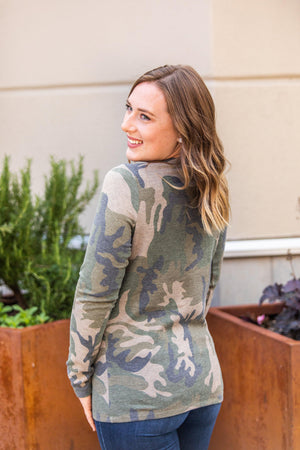 Harper Long Sleeve Henley - Army Green Camo
