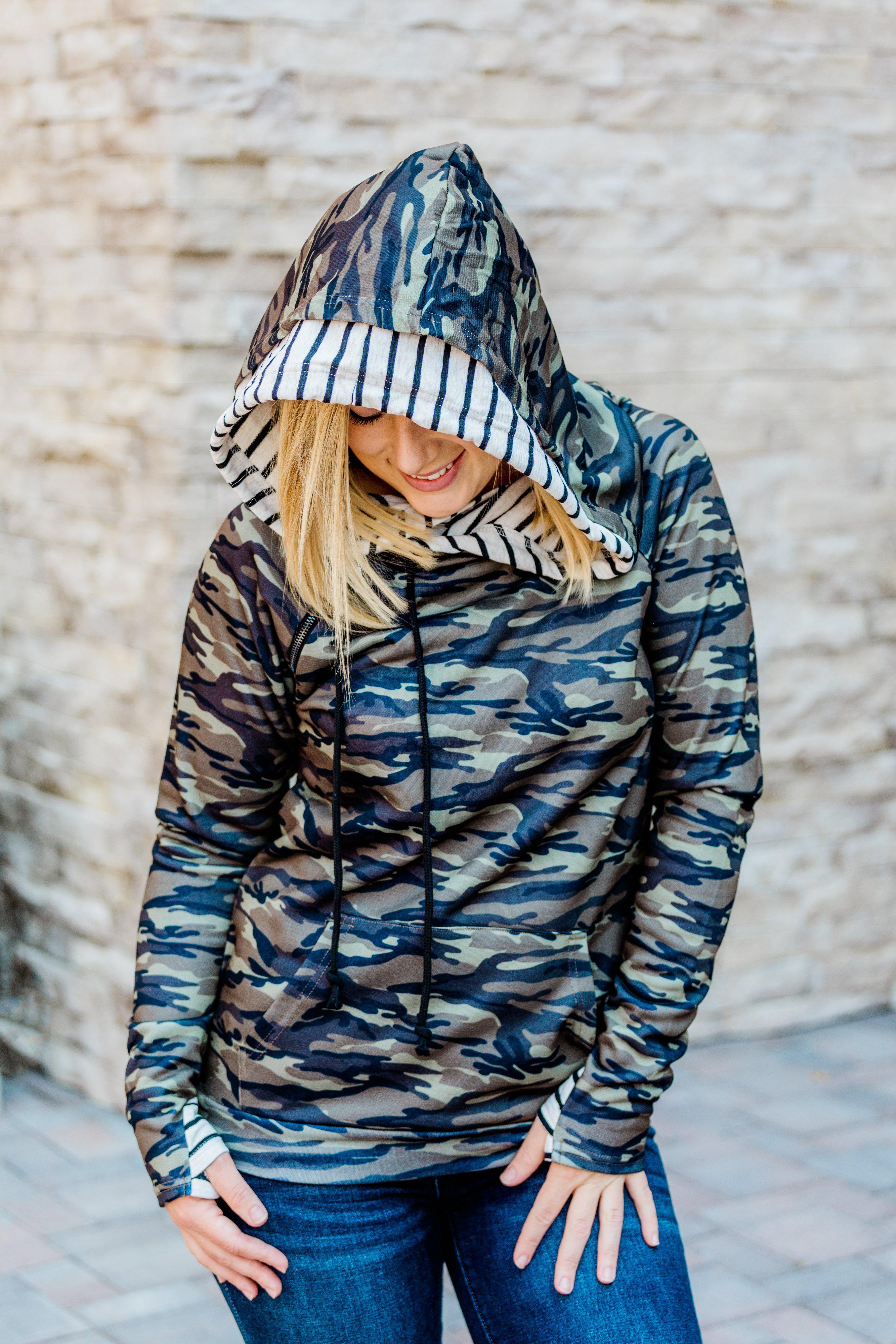 IN STOCK Camo & Stripes Double Hoodie