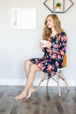Lounge Dress | Navy Floral