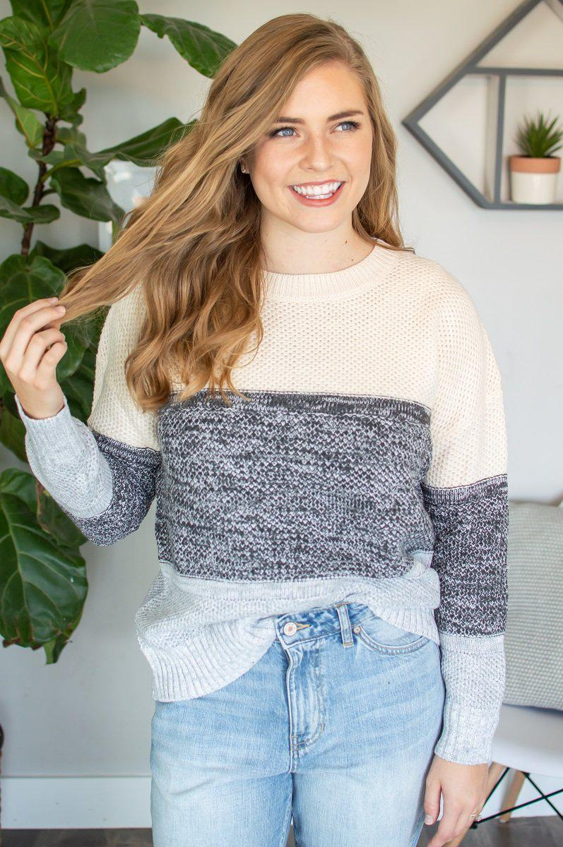 Color Block Knit Sweater | Grey