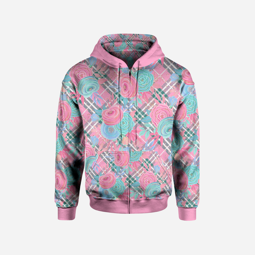 PINK FLORAL PLAID FRONT ZIP HOODED JACKET