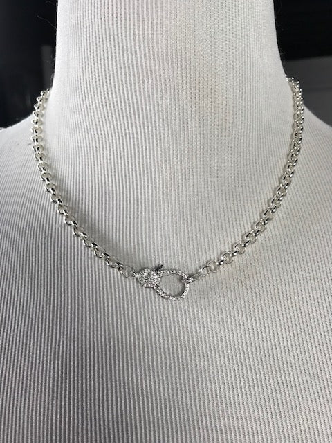 **SPECIAL ORDER** Silver Chain Necklace with Pave Lobster Clasp (1500)