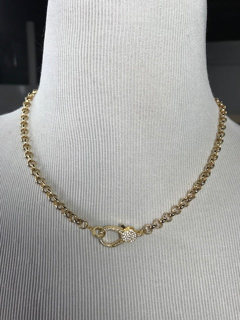 **SPECIAL ORDER** Gold Chain Necklace with Pave Lobster Clasp (1501)